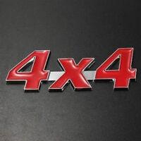 AUTOCOLLANT STICKER 3D METAL LOGO CHROME 4 X 4 ROUGE DIMENSIONS 8,3 X 3,5 CM
