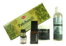 Patchouli Rundum-Sorglos-Paket!Parfum,Räucherstäbchen,Duschgel,Duftöl,Sheabutter