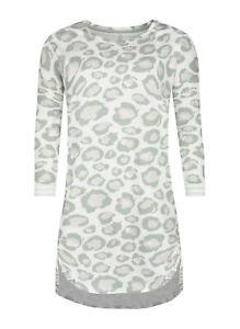Short Stories Damen Nachthemd Sleepshirt 7/8 Off White Leo Allover Print NEU