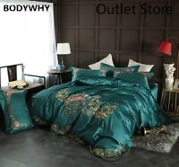 Chinoiserie Peacock Green Cover Set Vintage Embroidery Cotton Bedding Set 4Pcs