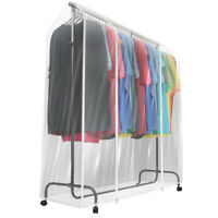 Heavy-Duty Garment Rack Cover - 6 Ft Transparent Clothes Rail Cover w/ 2 Zippers