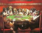 LARGE Poker Dogs Cheats Tin Sign Cards Beer Gamblers Pit Bull Chips Casino Puppy