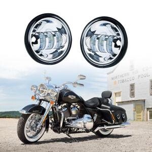 """4.5"""" Chrome LED Spot Fog Passing Light Lamp For Harley Davidson Motorcycle"""