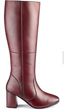Heavenly Soles Womens Bordo Leather EEE Fit Curvy Calf Boots Uk 7