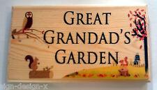 Large Great Grandads Garden Plaque / Sign - Autumn Owl Shed Grandpa Dad Workshop