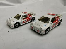 FORD RS200 PAIR OF RALLEY CARS  MATCHBOX 1:55 1986 Pirelli white/red retro cars