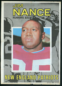 """1971 TOPPS FOOTBALL POSTER #15 JIM NANCE 5"""" x 7"""" Excellent Condition!"""