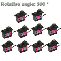 110PCs MG90S Micro Metal Gear 9g Servo for RC Plane Helicopter Boat Car 360°