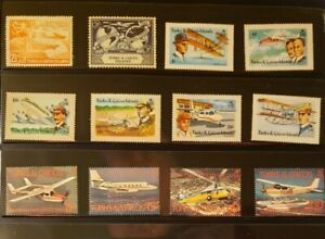Turks & Caicos Aircraft & Aviation Stamps Lot of 14 - MNH - See Details for List