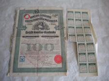 Vintage share certificate Stock Bonds Mexico Credit Foncier Mexicain 1908