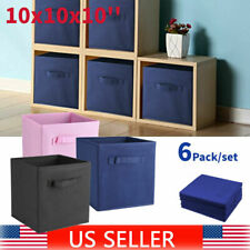 6pcs Foldable Cube Basket Home Organizer Clothes Storage Container Drawer Bins