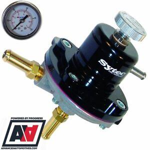 Sytec Black Adjustable Fuel Pressure Regulator & Gauge 1-5 bar 8mm SAR001BK ADV