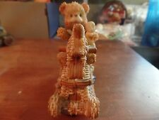 Resin Teddy Bear Riding Wicker Rocking Horse Figurine #2079