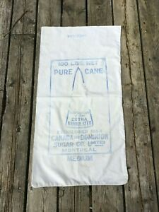 Antique 100 lb. Canada & Dominion Sugar Co. Ltd. Montreal Cloth Sack Bag - A24