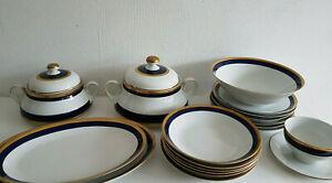 Geschirrteile Speise-Service Kobaltblau Goldrand Winterling 60er 70er
