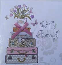 FEMALE BIRTHDAY CARD, LUGGAGE, FLOWERS, BUTTERFLIES - EMBELLISHED ON FRONT (327)