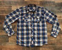 Ambiguous Men's Check Plaid Button Down Long Sleeve Shirt Multi Color XL EUC