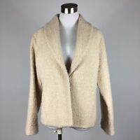 Eileen Fisher Womens Blazer PL Cream Textured Weave Seam Pockets Lined Shawl Col