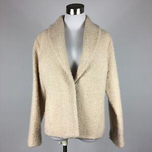 Eileen Fisher Womens Blazer PL Cream Textured Weave Seam Pockets Lined Shawl Col