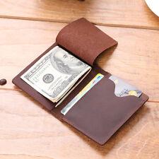 Mens Crazy Horse Leather Wallet Slim Minimalist Card Holder Money Clip Wallet