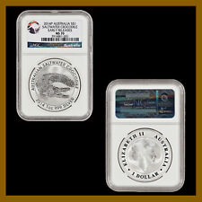 Australia 1 Dollar Silver Coin, 2014 Saltwater Crocodile NGC MS 70 Early Release