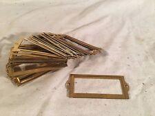 24 Vintage Brass Card File Cabinet Drawer Label Holders