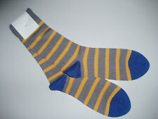 🇬🇧 NEW 80% MERINO WOOL Mens Stripe/Contrast Socks Grey/Yellow/Royal Blue 7-11