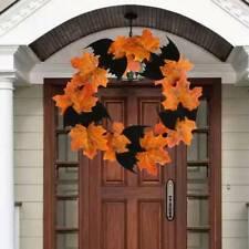 Autumn Maple Leaf Artificial Christmas Halloween Home Party Garland Wreath LA