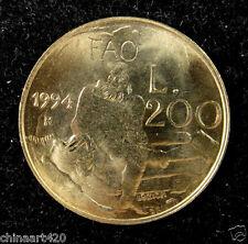 San Marino Coin 200 Lire 1994 UNC, Man and Bear