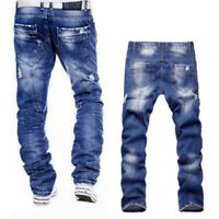 Men's Long Wrinkle Straight Leg Slim Fit Jeans Casual Denim Pants Trousers Hot