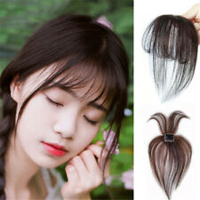 3D Air Bang Human Hair Clip in Topper Hairpiece Thin Flat Bangs Fringe Remy