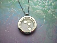 New Adorable Floating Charm Locket Necklace - Comes with 3x Silver Bubble Charms