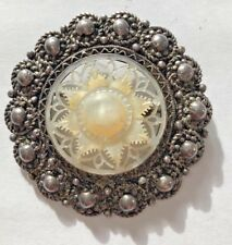 vintage STERLING SILVER HAND CARVED MOTHER OF PEARL PIN MADE IN JERUSALEM BROOCH