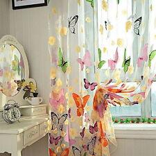 1 Schmetterling Gardinen Fenster Vorhang Voile Dekoschal Transparent 1x2m JO