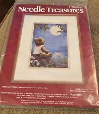 New listing New Needle Treasures 7 x 10 Moonlight Teddy stitchery kit