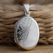 Solid 925 Sterling Silver Oval Photo Locket Pendant Necklace Jewellery Gift Box