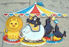 "Vintage Baby Nursery Circus Animal Tent Wall Plaque Decoration Seals Monkey 22"""