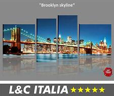 Brooklyn skyline - 4 QUADRI MODERNI INTELAIATI ARREDO BILDER POSTER DIGITAL XXL