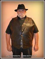 Gilet jacket en cuir Patchwork sans manche mixte Grande Taille ! S à 7XL !