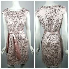 Venus Womens Size 8 Sequin Dress Satin Knee Length Sash Cap Sleeve Blush Pink