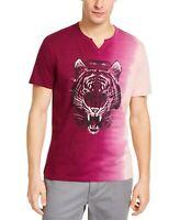 INC Mens T-Shirt Pink Purple Size Medium M Ombre Tiger Split Neck Tee $29 098