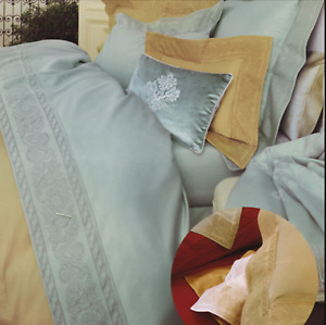 NWT YvesDelorme 1175$ Set (4 items) Tosca (Honey) Bedding with Jacquard  Border