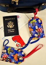"""hand crafted fabric luggage tags set of 2 secure info 3.5"""" X 5.5"""" spider friends"""