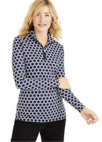 Charter Club Women's Navy & White Printed Half-Zip Top-NWT-Size XXLarge