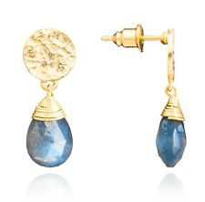 Azuni Jewellery Athena Princess Kate Gold Gemstone Drop Earrings Labradorite
