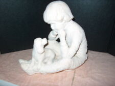 """AUSTIN PROD.INC.SCULPTURE OF A LITTLE BOY & HIS PUPPY TITLED """"BRIGHT EYES"""" 1988"""