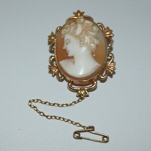 sweet 9ct Shell Cameo Brooch Gorgeous Lady and safety chain Genuinely Old