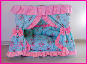 Princess Blue Flower Pink Check Pet Dog Handmade Bed House + 1 Candy Pillow