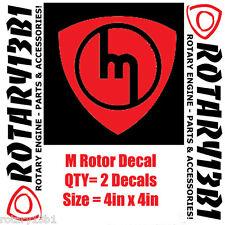 ROTOR DECALS STICKER ROTARY ENGINE RX7 RX2 RX8 REPU WANKEL POWER RED 2pcs