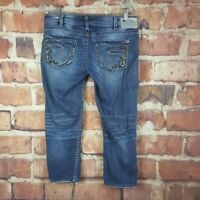 Silver Jeans Cropped Aiko Low Capri Womens Size 30 Distressed